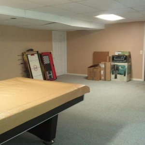 Basement:  Unpack, Declutter, Put Away, & Clean - After/Front Area, side angle
