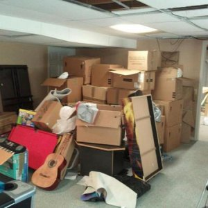 Basement:  Unpack, Declutter, Put Away, & Clean - Before/Front Area, side angle